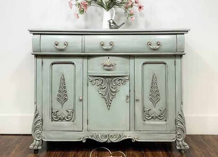 Buffet/Cabinet in Fancy Frock with Grey Wax