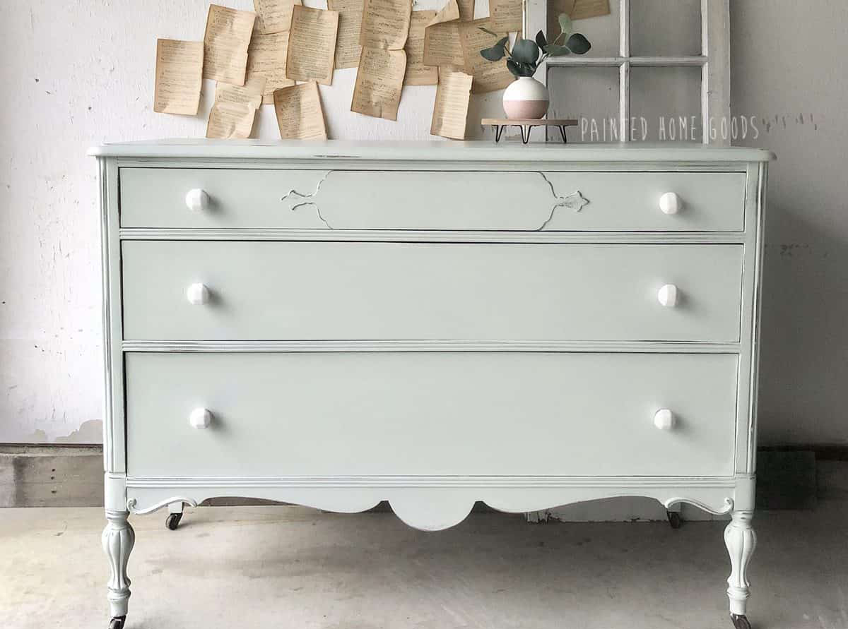 Three Drawer Dresser in Fancy Frock with White Ceramic Hardware