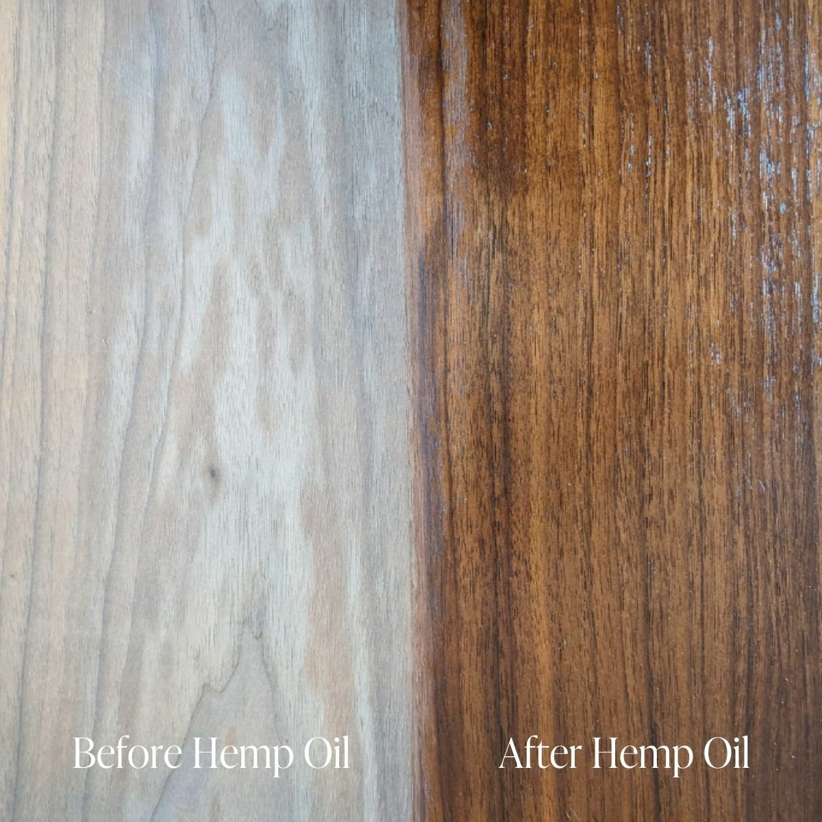 Before and after using Country Chic Paint Hemp Oil