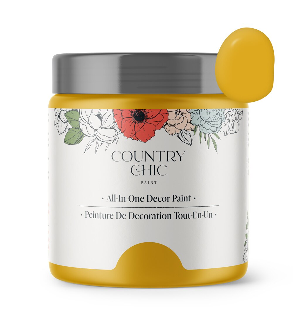 16oz jar of Country Chic Chalk Style All-In-One Paint in the color Fresh Mustard. Mustard yellow.
