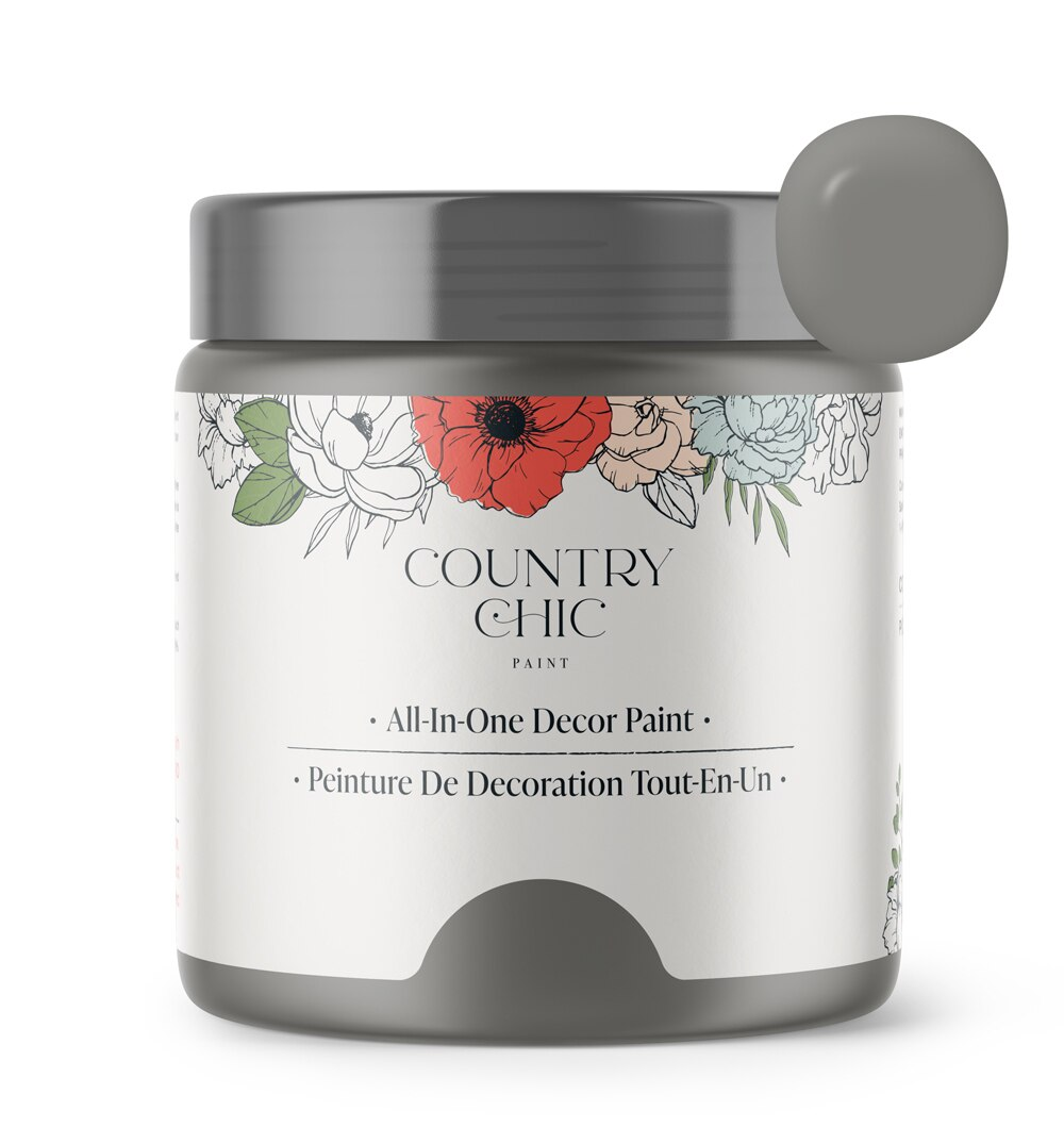 16oz jar of Country Chic Chalk Style All-In-One Paint in the color Cobblestone. Mid-tone grey.