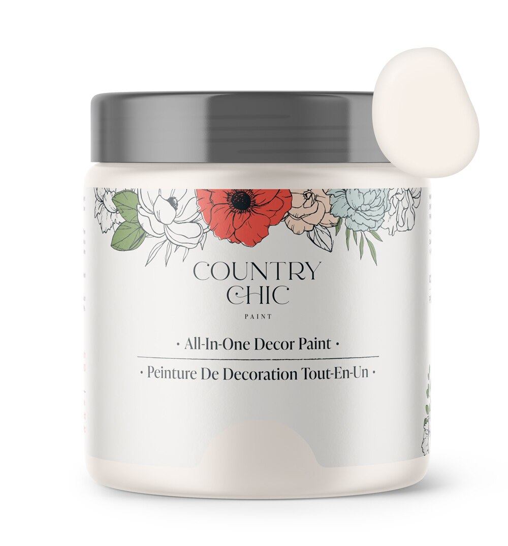 16oz jar of Country Chic Chalk Style All-In-One Paint in the color Crinoline. Crisp white.