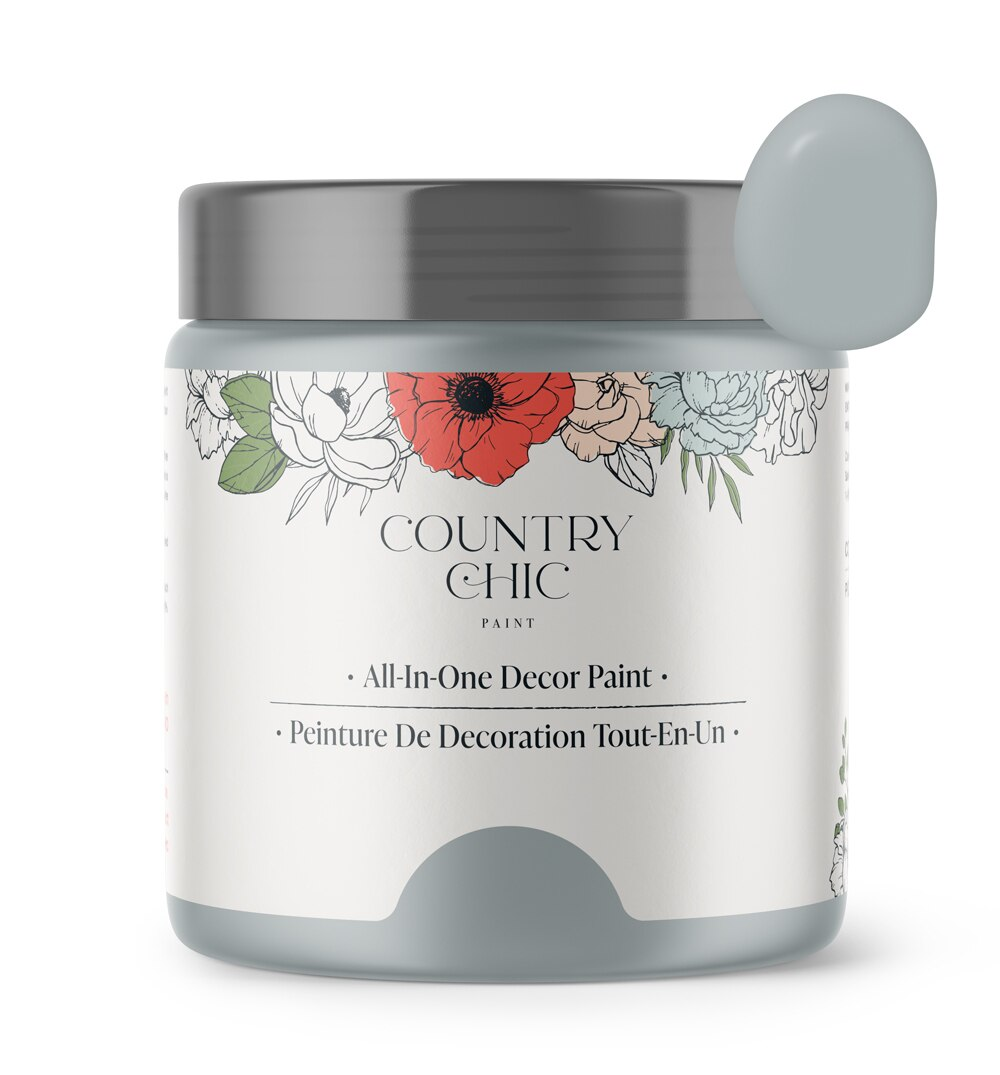 16oz jar of Country Chic Chalk Style All-In-One Paint in the color Cut a Rug. Cool toned grey.