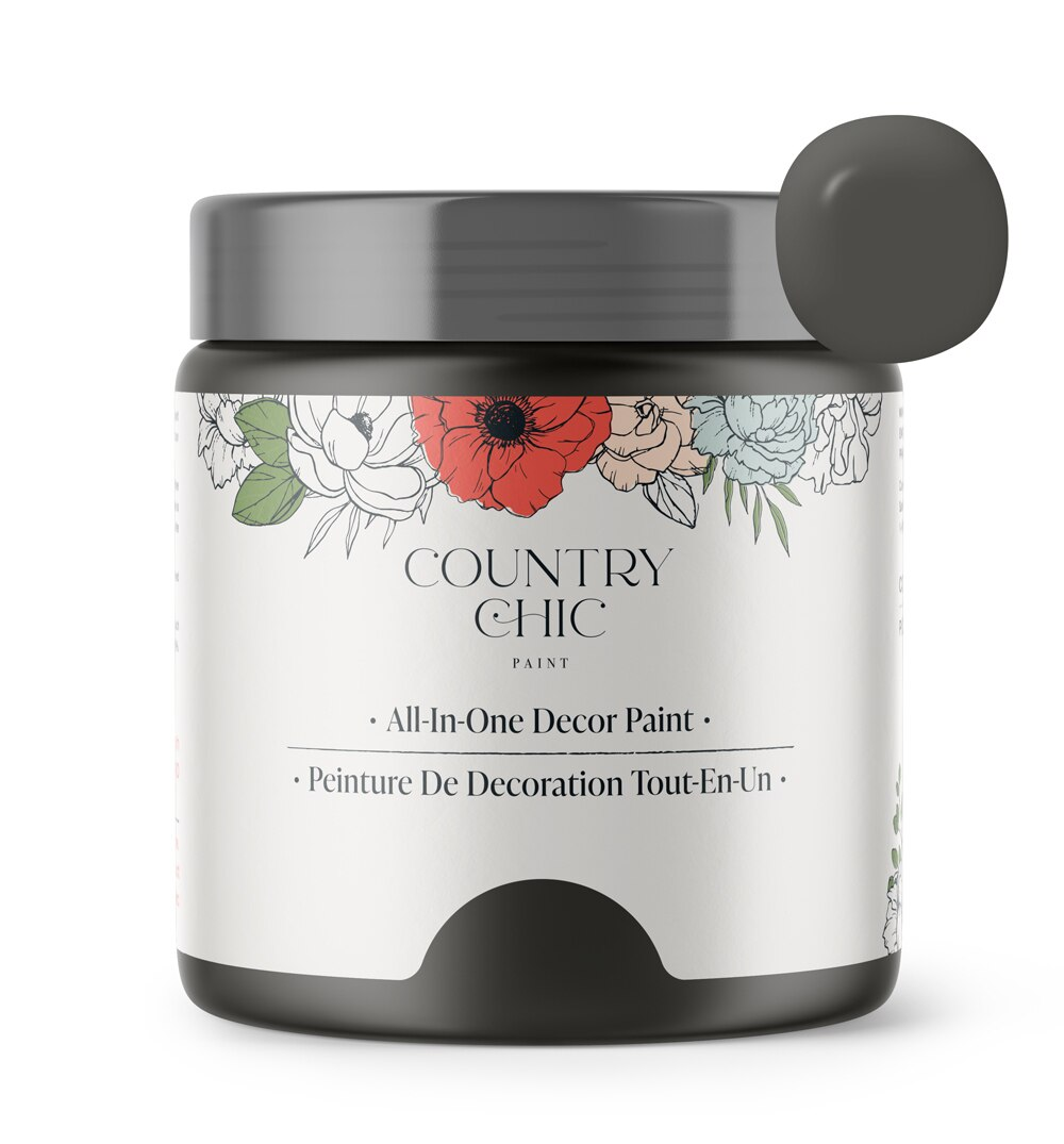 16oz jar of Country Chic Chalk Style All-In-One Paint in the color Dark Roast. Deep brown.