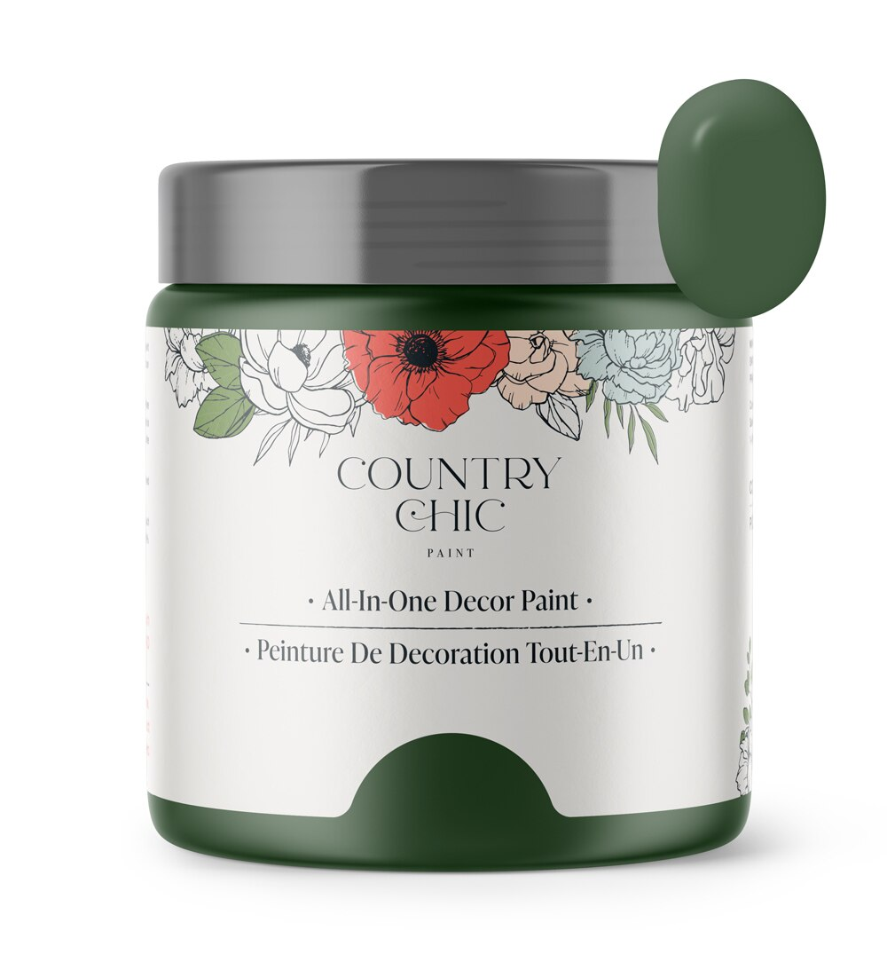 16oz jar of Country Chic Chalk Style All-In-One Paint in the color Fireworks. Emerald green.