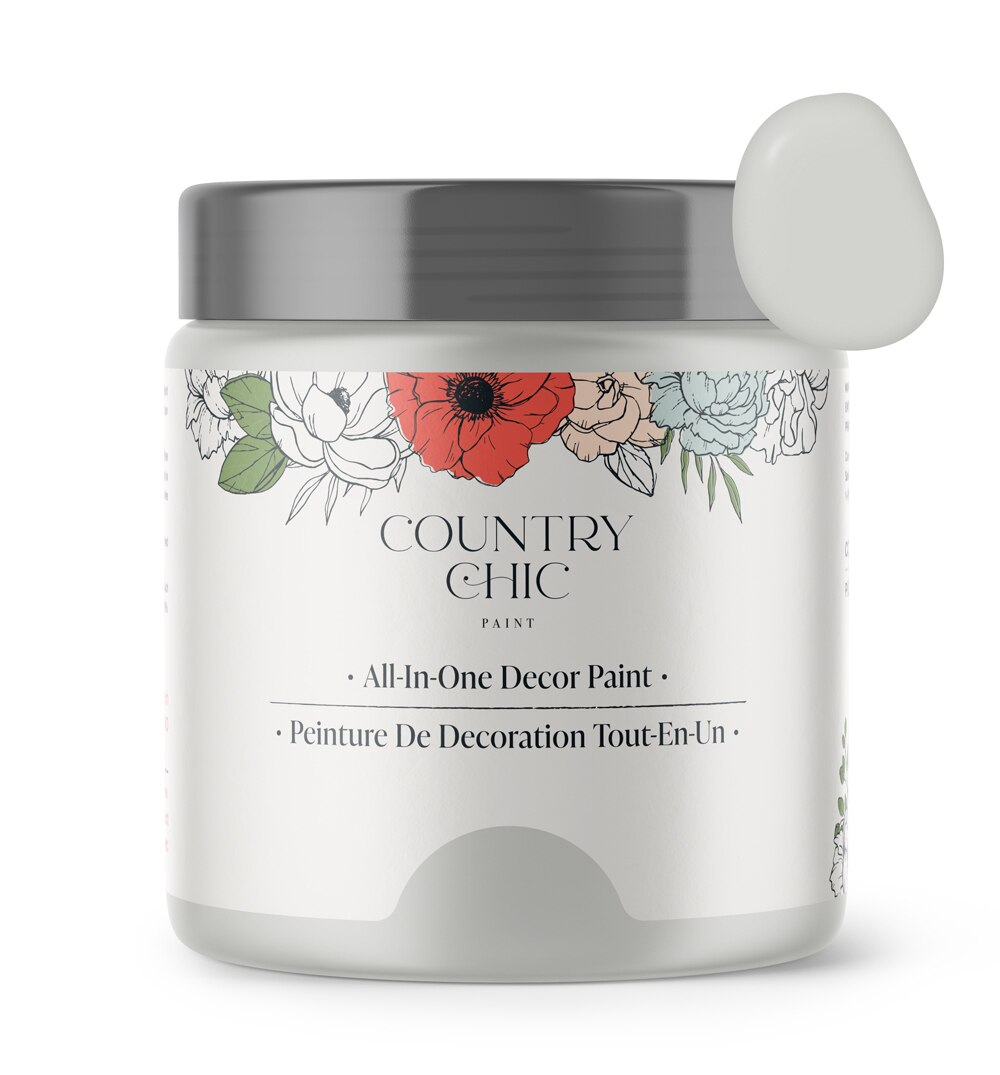 16oz jar of Country Chic Chalk Style All-In-One Paint in the color Lazy Linen. Pale grey.