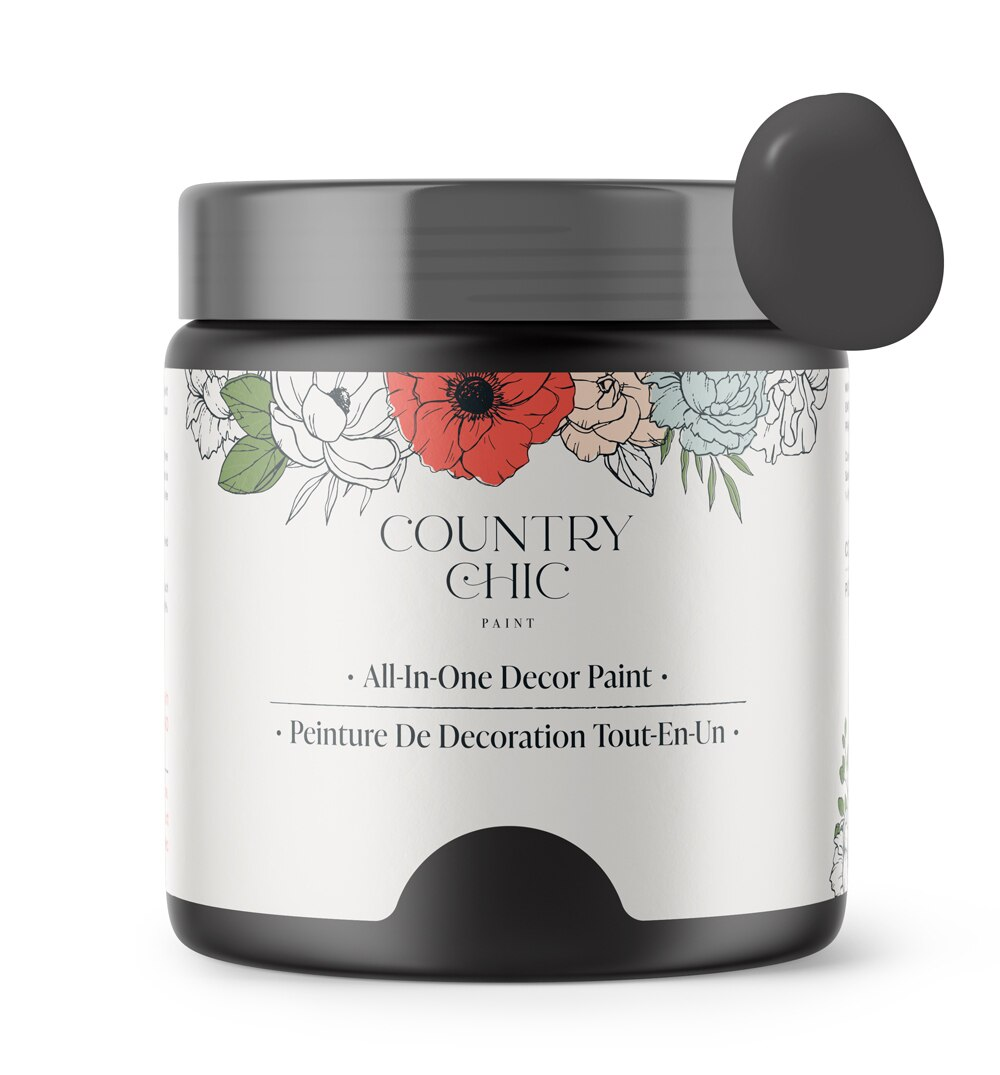 16oz jar of Country Chic Chalk Style All-In-One Paint in the color Liquorice. Black.