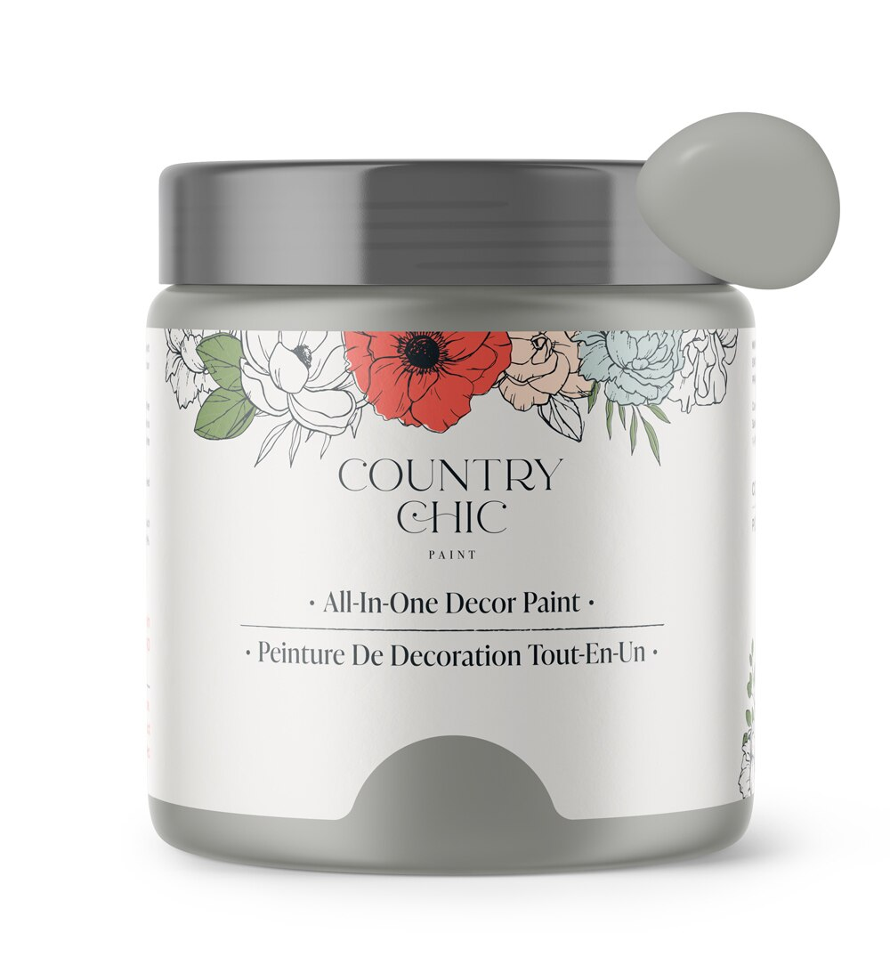 16oz jar of Country Chic Chalk Style All-In-One Paint in the color Pebble Beach. Mid-tone grey.