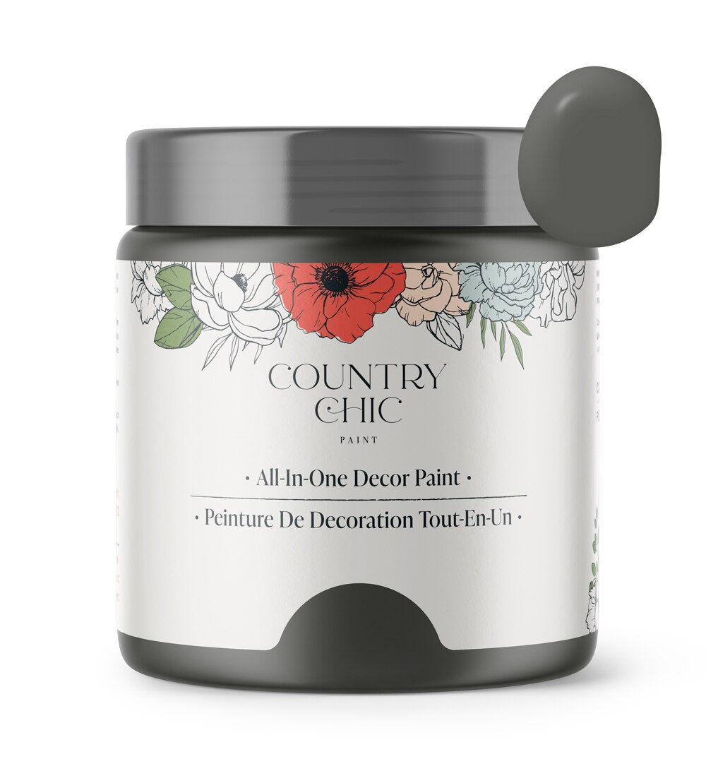 16oz jar of Country Chic Chalk Style All-In-One Paint in the color Rocky Mountain. Charcoal grey.