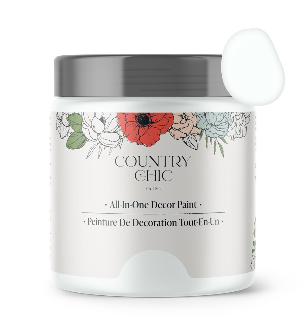 16oz jar of Country Chic Chalk Style All-In-One Paint in the color Simplicity. Pure white.