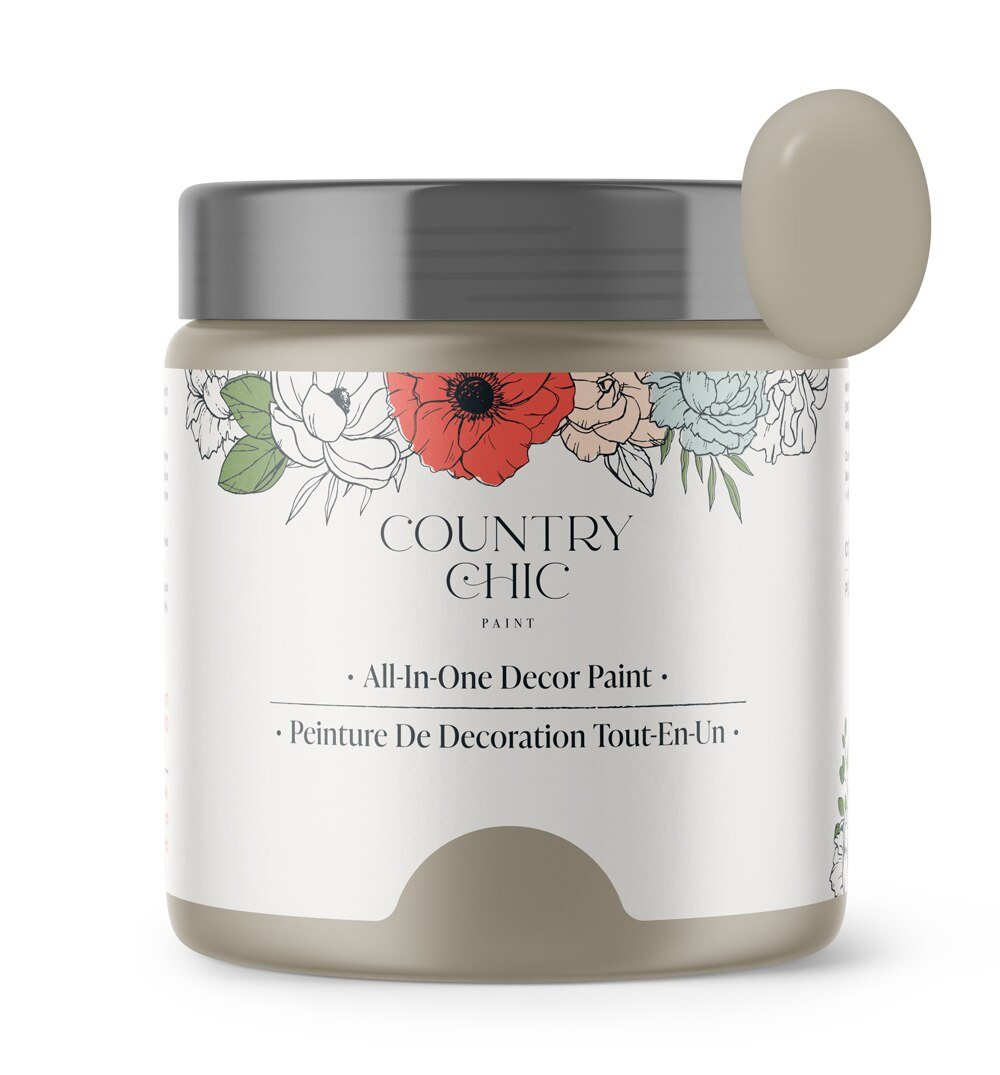 16oz jar of Country Chic Chalk Style All-In-One Paint in the color Soiree. Warm beige.