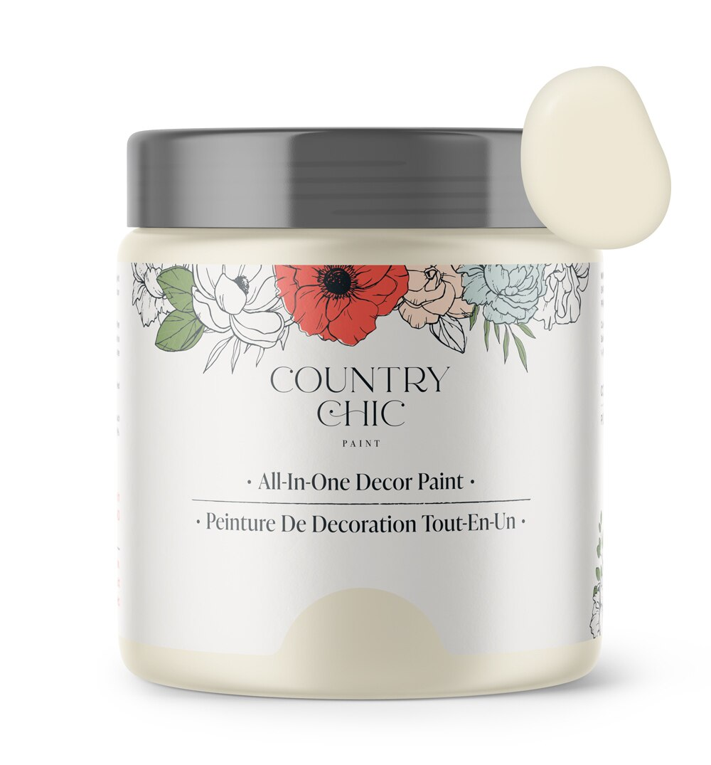 16oz jar of Country Chic Chalk Style All-In-One Paint in the color Vanilla Frosting. Light off-white.
