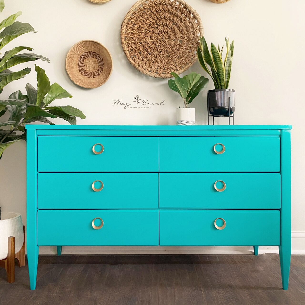 A wooden dresser painted in the Country Chic Paint peacock teal color Whoop-de-do.