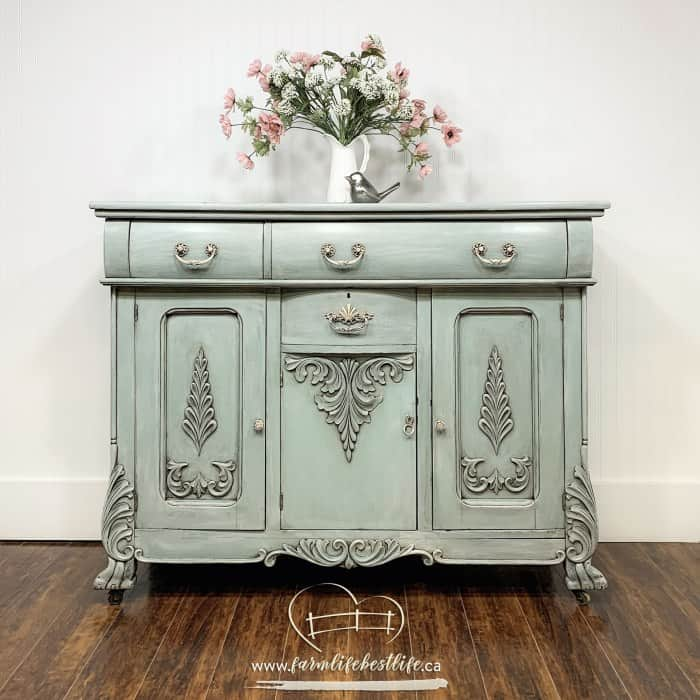 Antique shabby chic buffet sideboard painted with dusty blue furniture paint furniture glaze and antiquing wax