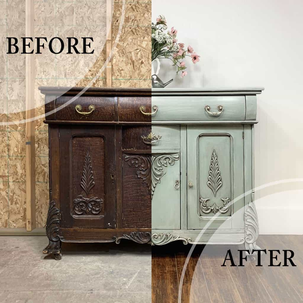 Before and after transformation of old wood buffet painted with dusty blue furniture paint