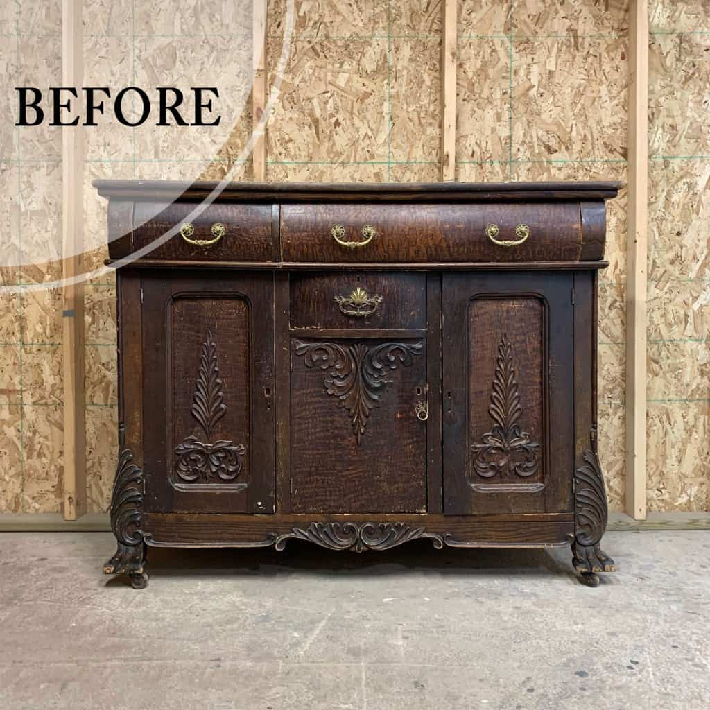 Old wood sideboard before furniture paint transformation