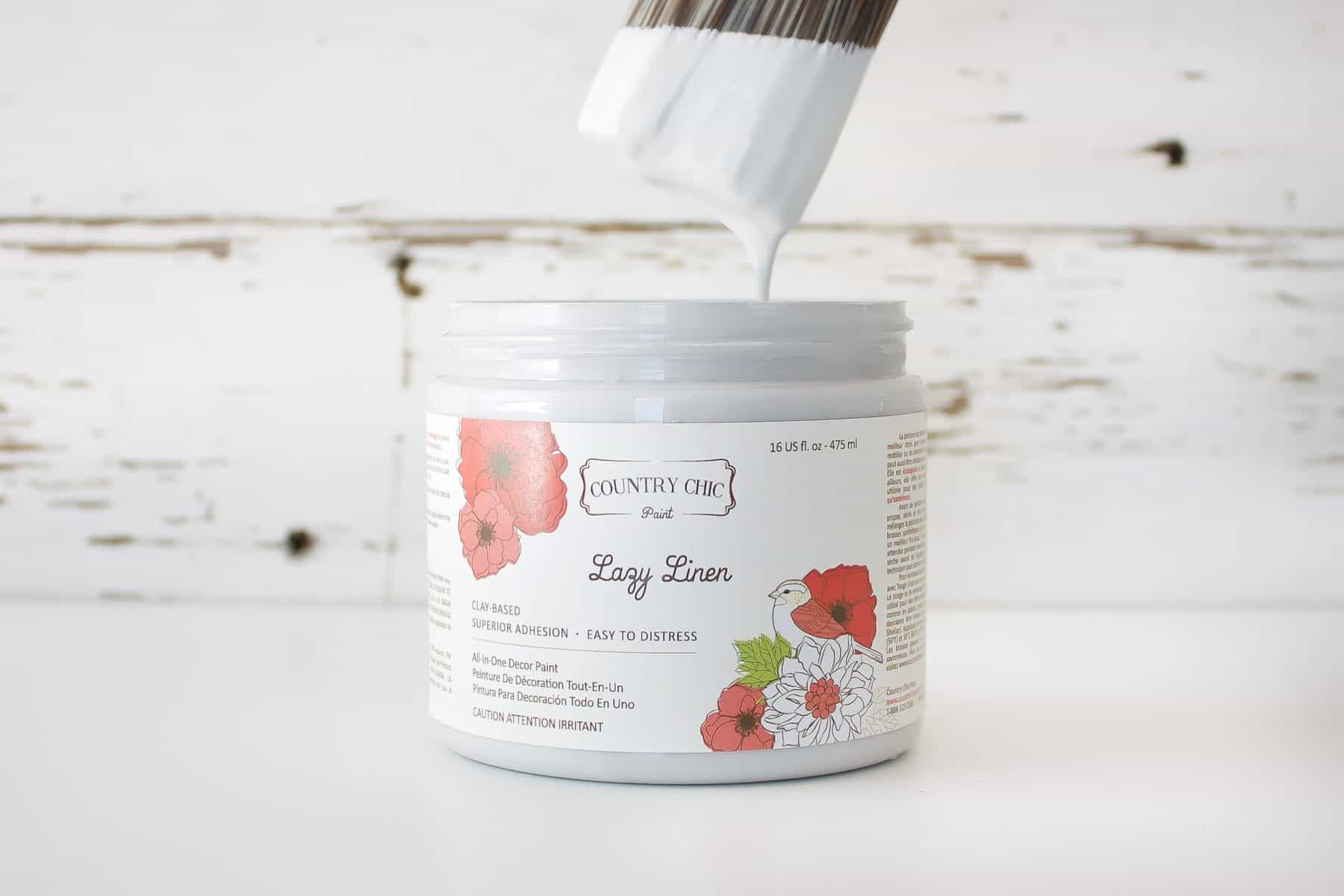Country Chic Paint chalk style furniture paint in a light grey color called Lazy Linen