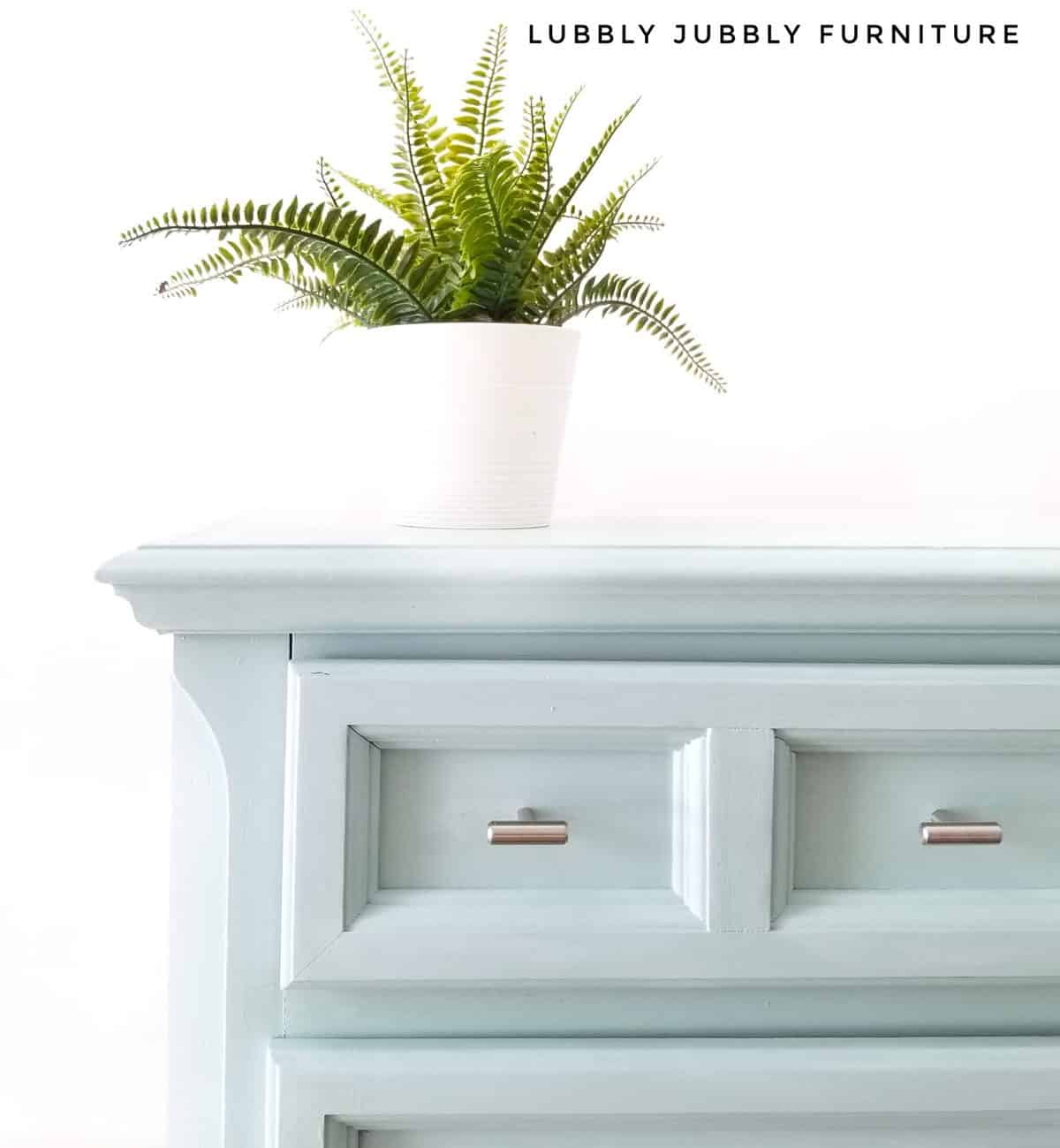 Fancy Frock pastel blue nightstand painted with chalk style furniture paint