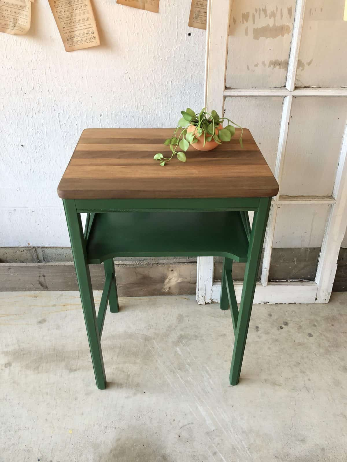 Fireworks emerald green painted side table in chalk style furniture paint