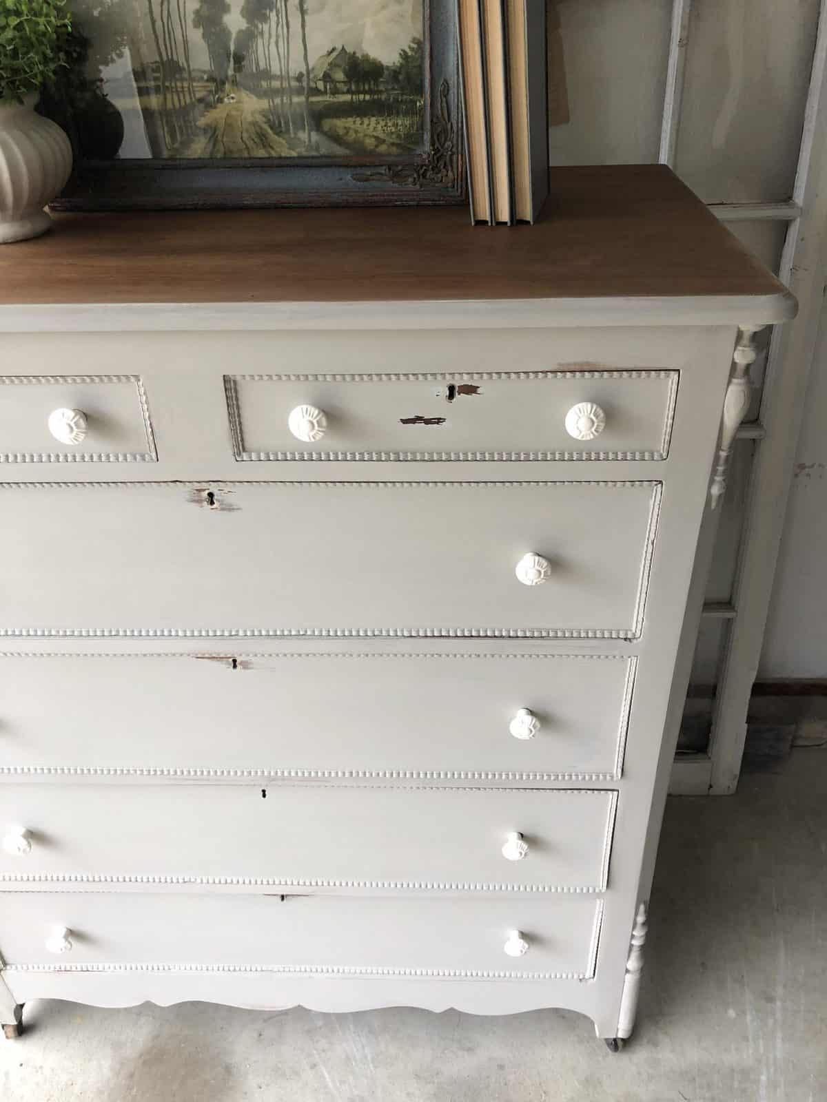 Greige shabby chic vintage distressed tallboy dresser painted with custom grey mixed color furniture paint