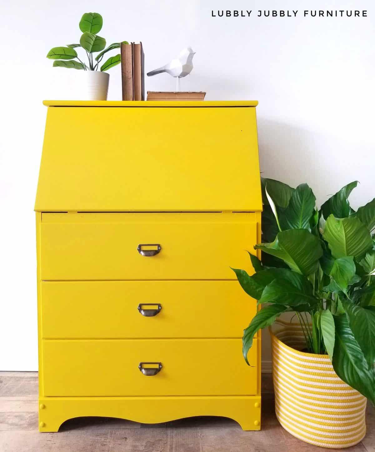 Bright lemon yellow painted secretary desk