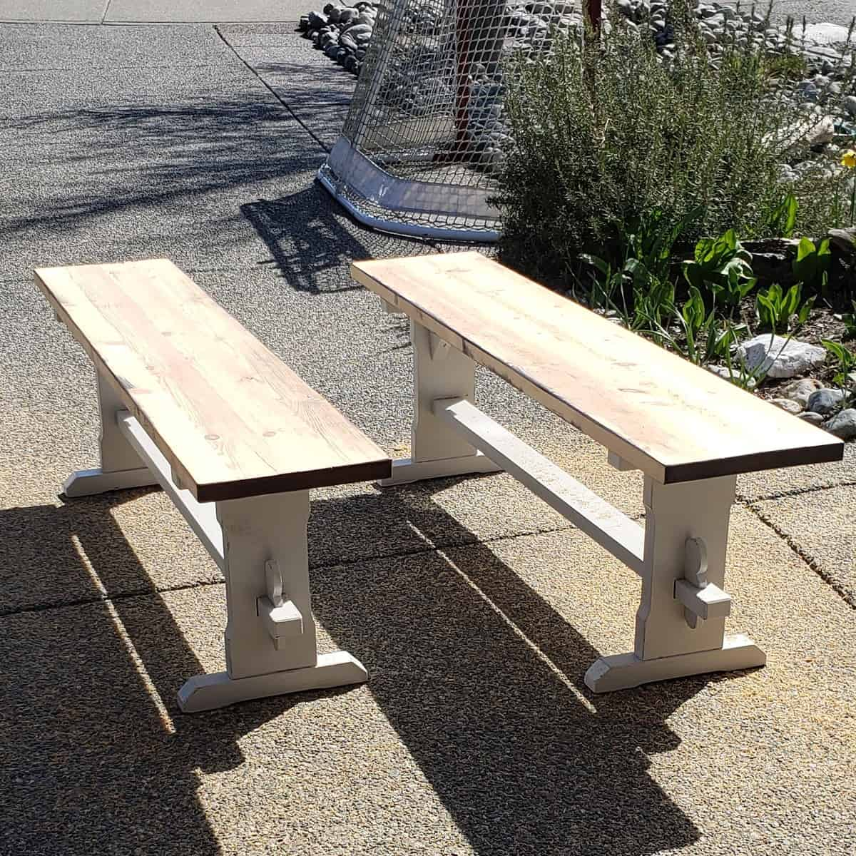 Restored wooden dining table and benches with light grey furniture paint