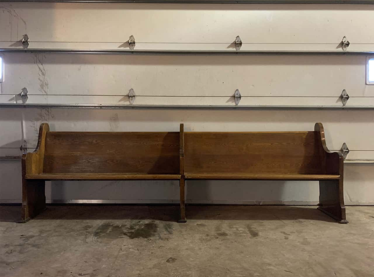 Sunday Tea painted church pew upcycled to entryway bench with eco-friendly furniture paint