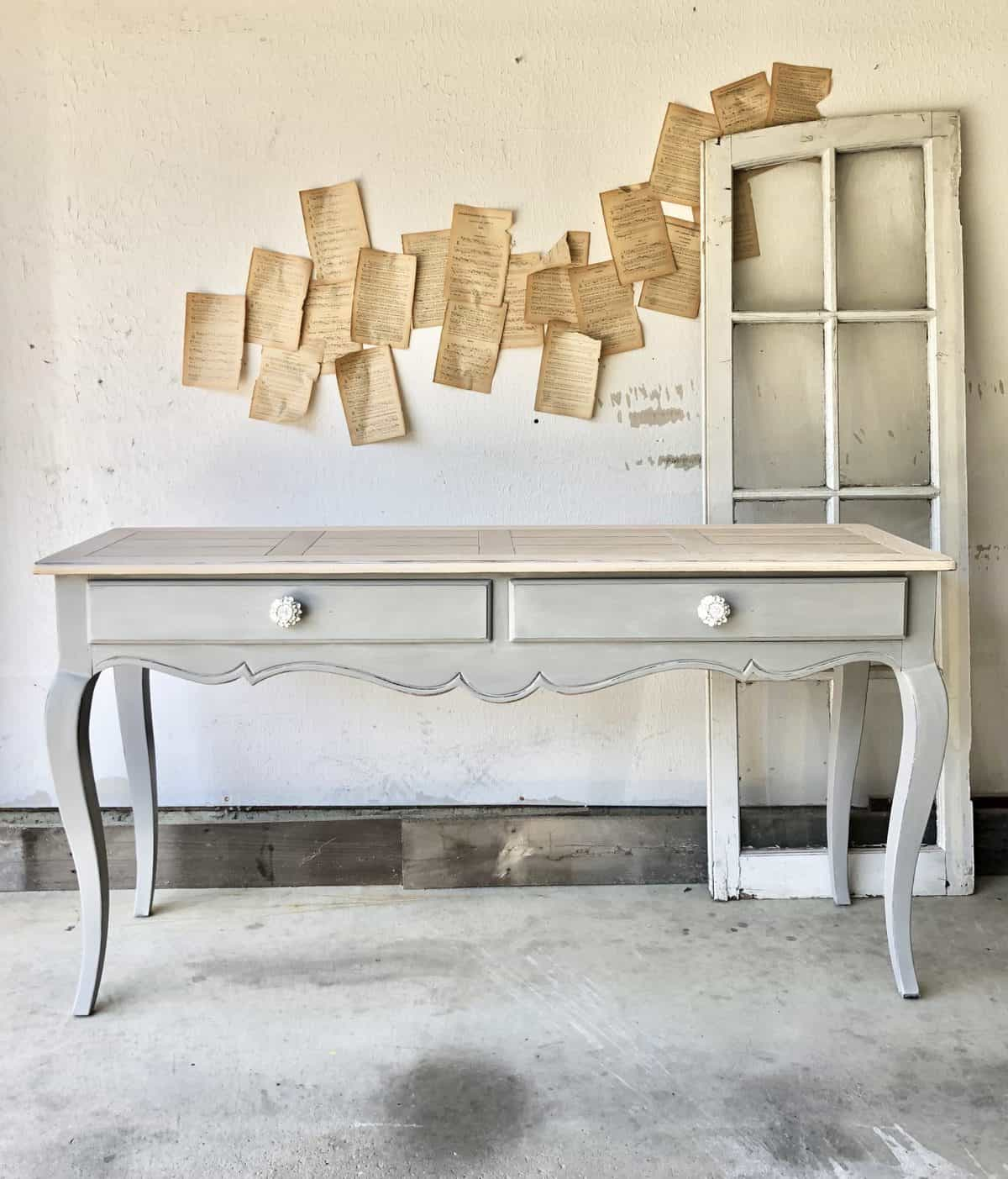 Taupe grey painted console table - Pebble Beach mixed with Driftwood and Pop the Bubbly - by Abbey Franer