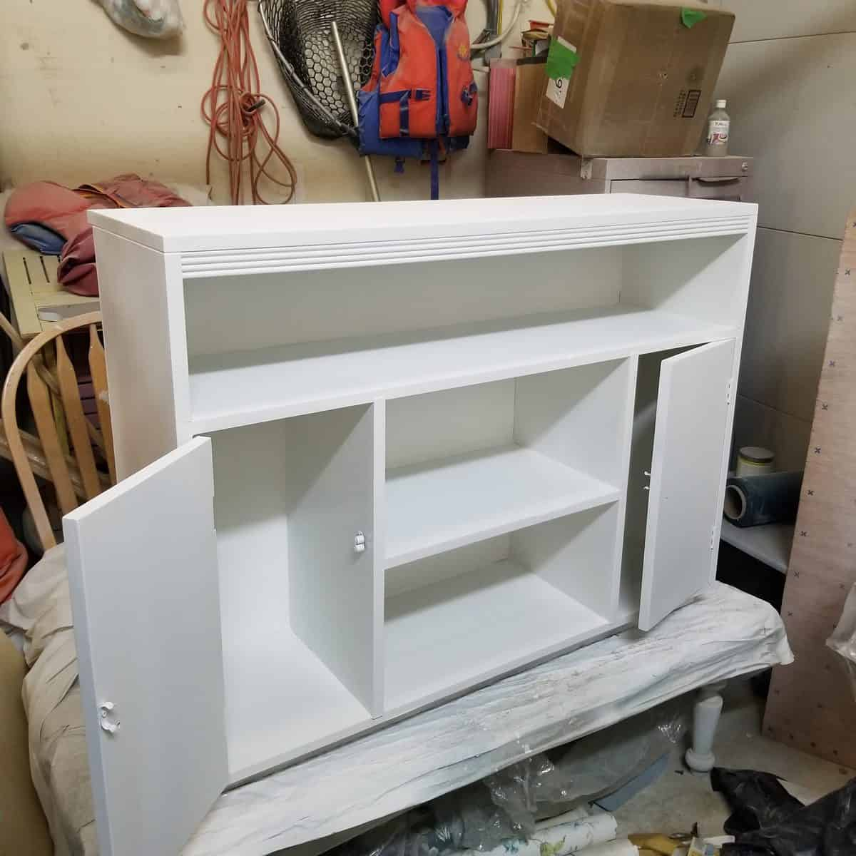White chalk furniture paint MCM cabinet with hairpin legs