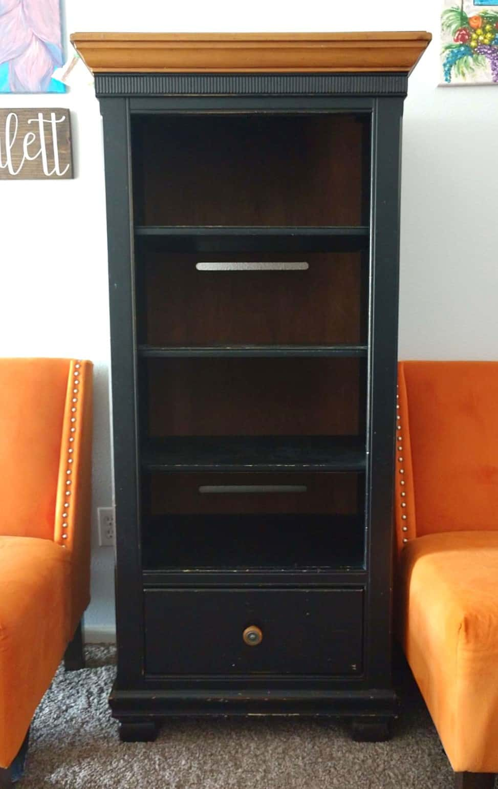 Emerald green chalk painted bookcase - eco friendly furniture paint - before paint