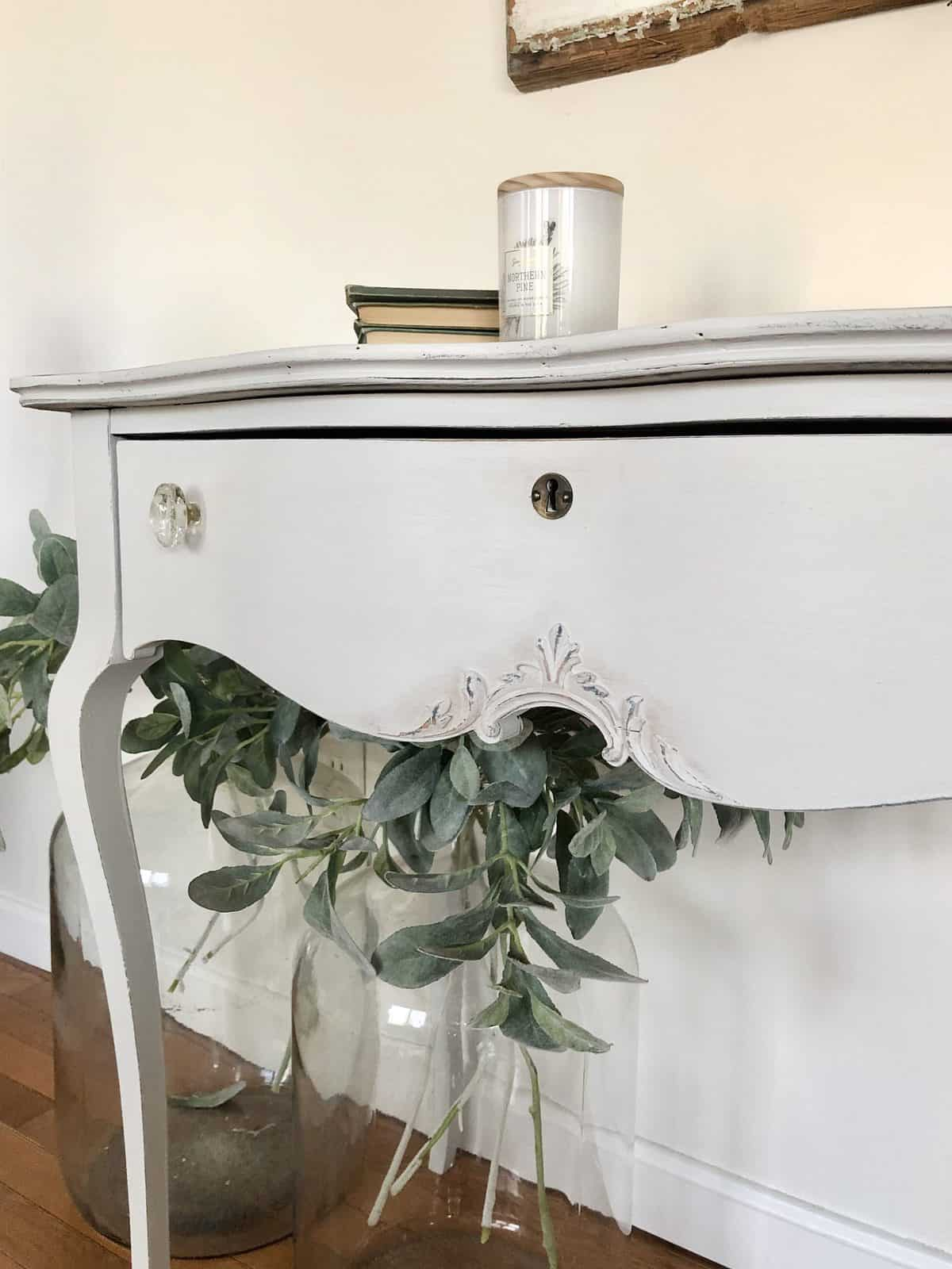 light grey painted curvey desk - painted with eco-friendly furniure paint - side angle