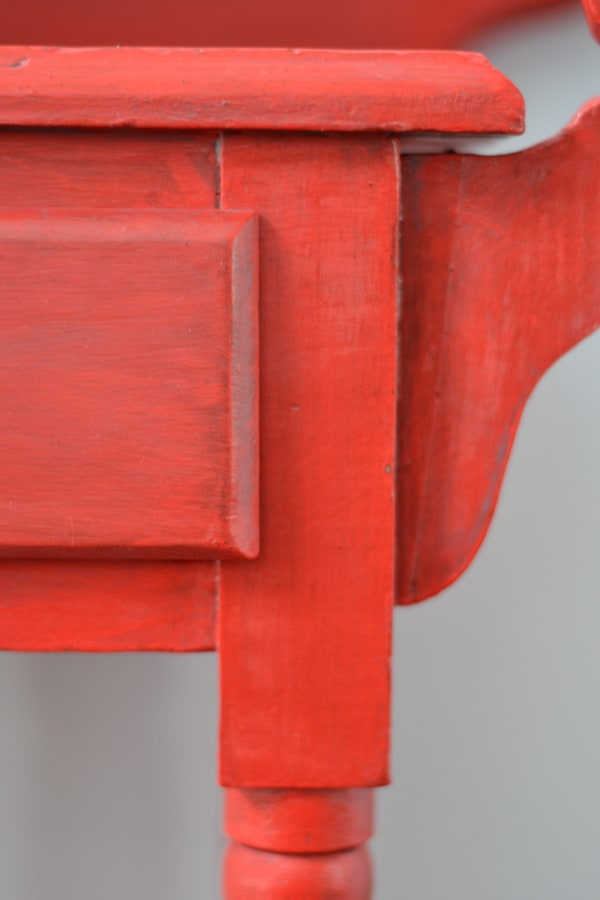Bright red painted side table / bar cart - painted with eco-friendly furniture paint