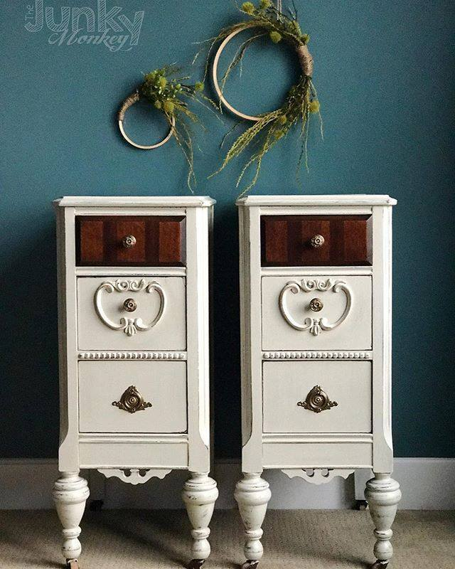 Top 10 paint colors from Country Chic Paint - Sunday Tea - vanity upcycled into nightstands with teal wall