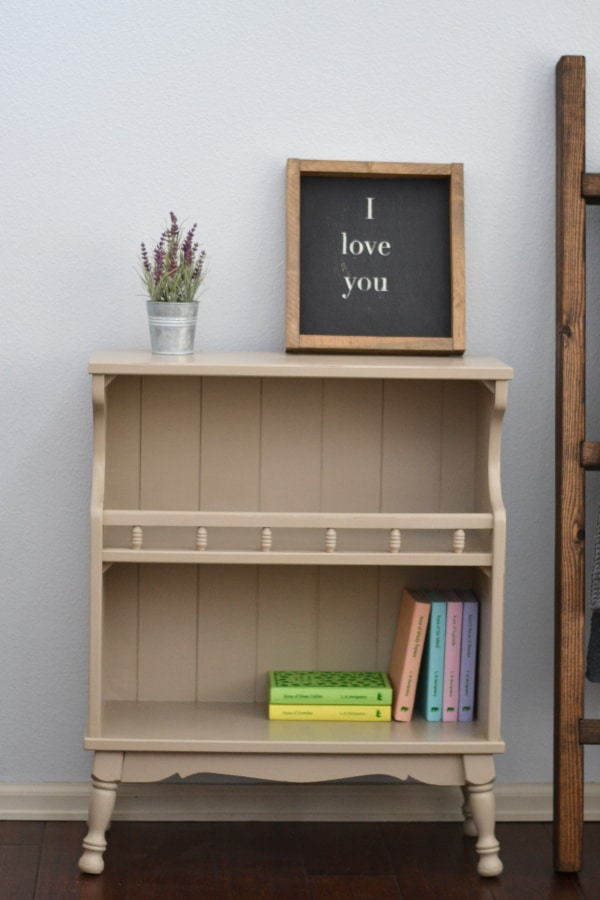 taupe greige bookcase painted with chalk style paint