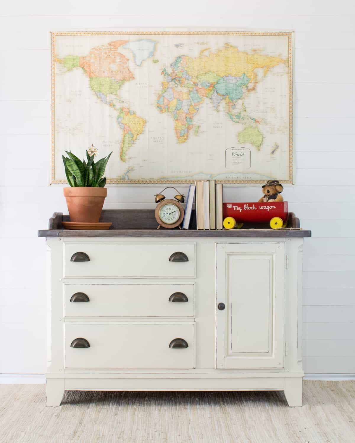 Top 10 paint colors from Country Chic Paint - vanilla frosting off white painted changing table with map on wall