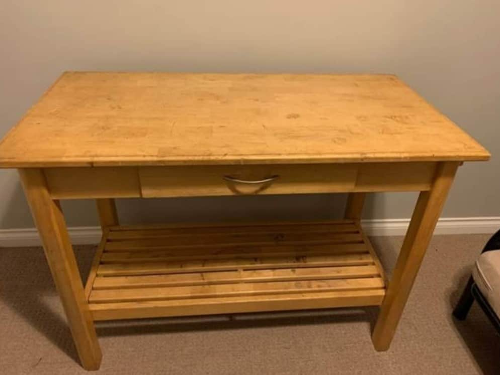 white painted and stained kitchen island butcher's block with chalk style furniture paint
