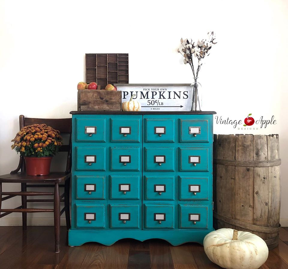 16-Drawer Card Catalog in Bliss with Dark Wood Top