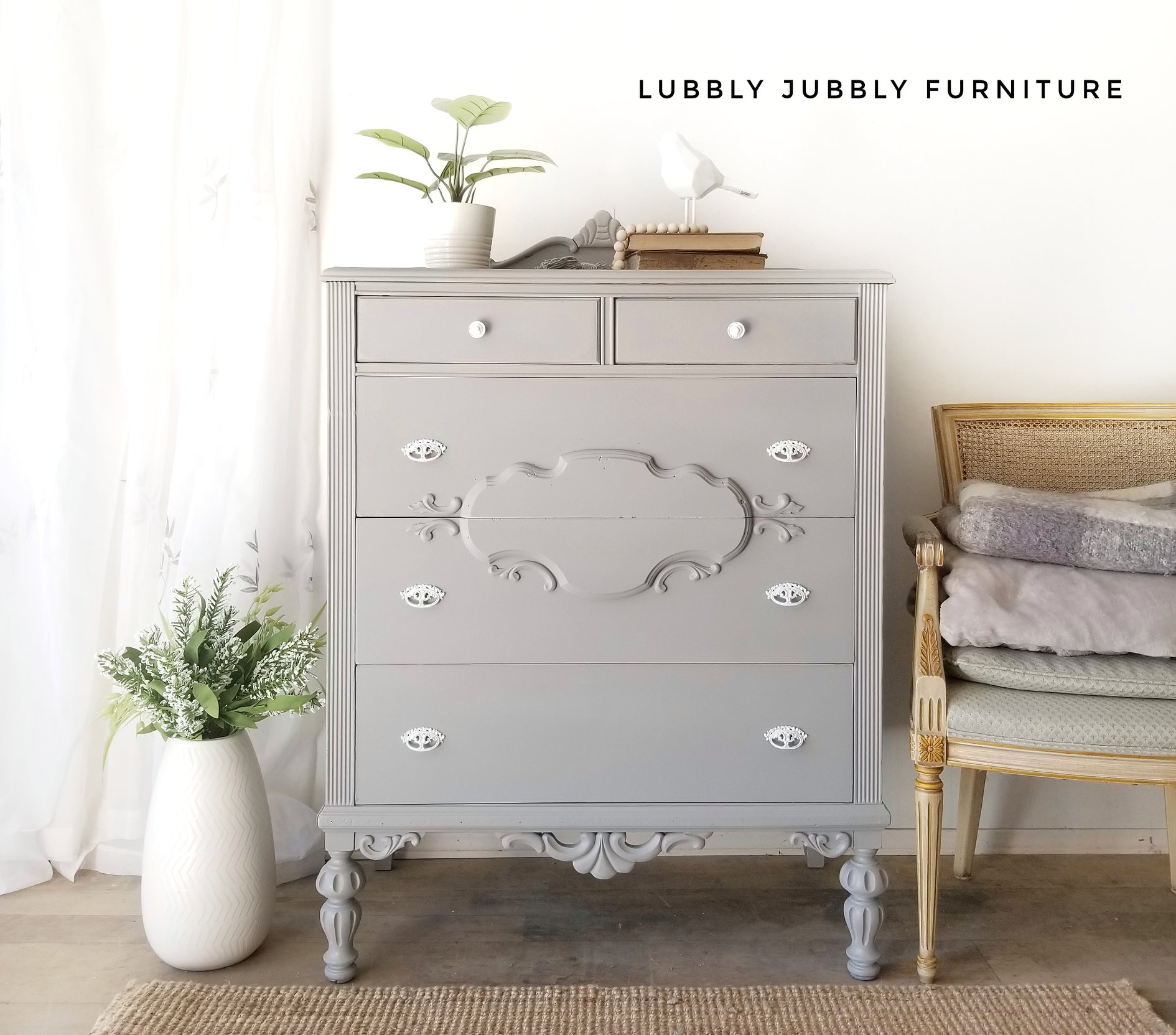 Vintage Dresser in Lazy Linen with Clear Coat