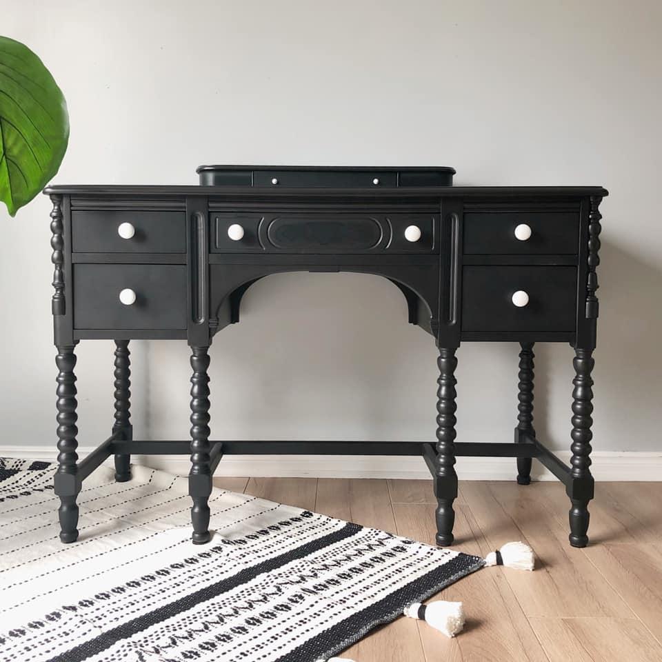 Desk/Vanity in Liquorice with White Ceramic Knobs