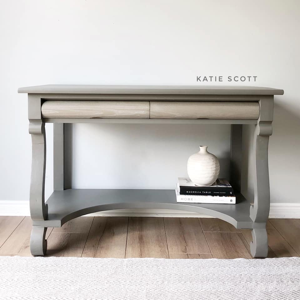 Decorative Hall Table in Cobblestone with Natural Wood Drawers with White Wax