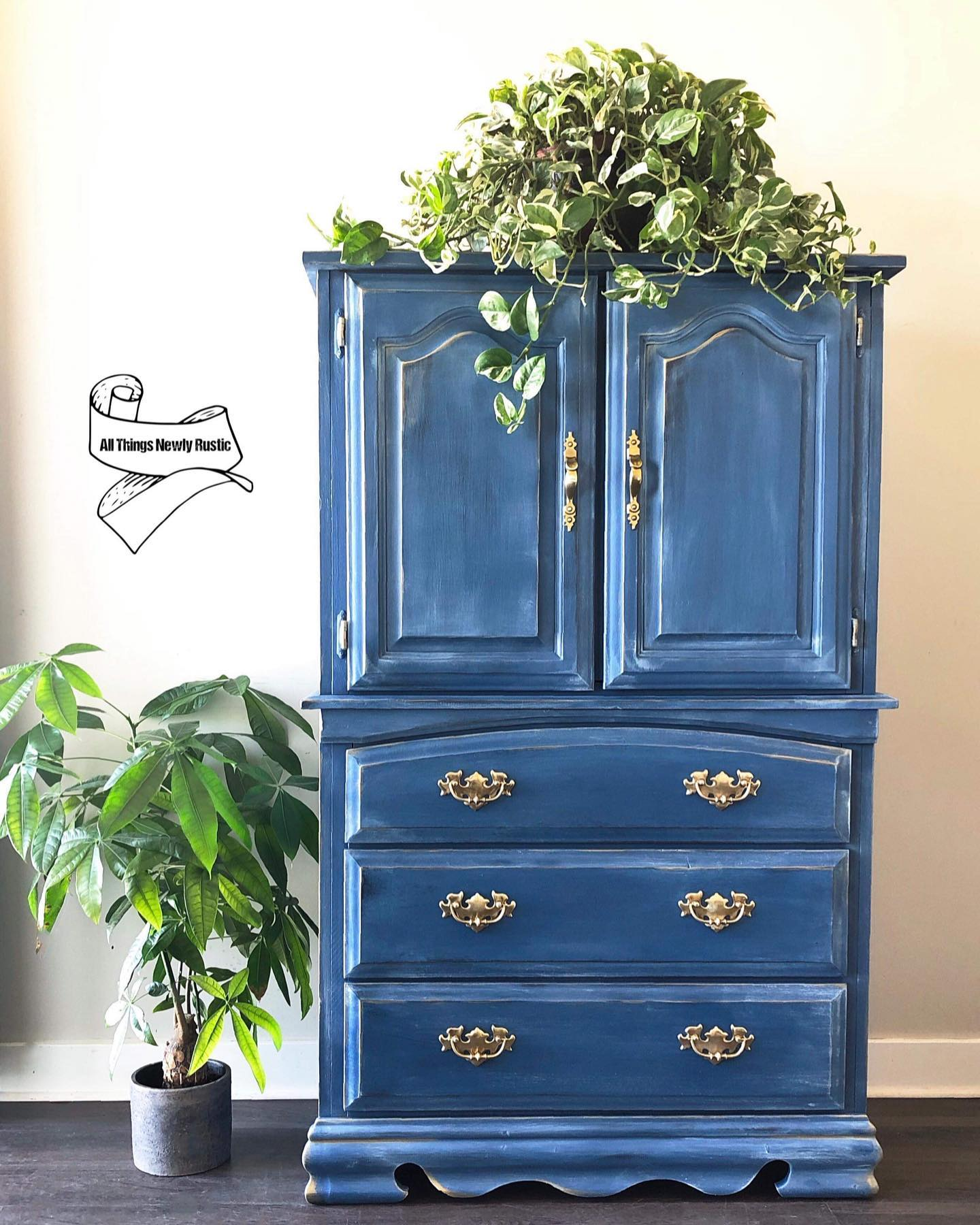Armoire with Three Drawers in Wanderess with White Wax