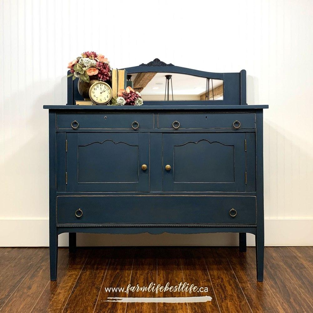 Hall/Storage Cabinet/Buffet in Liquorice with Mirrored Backsplash