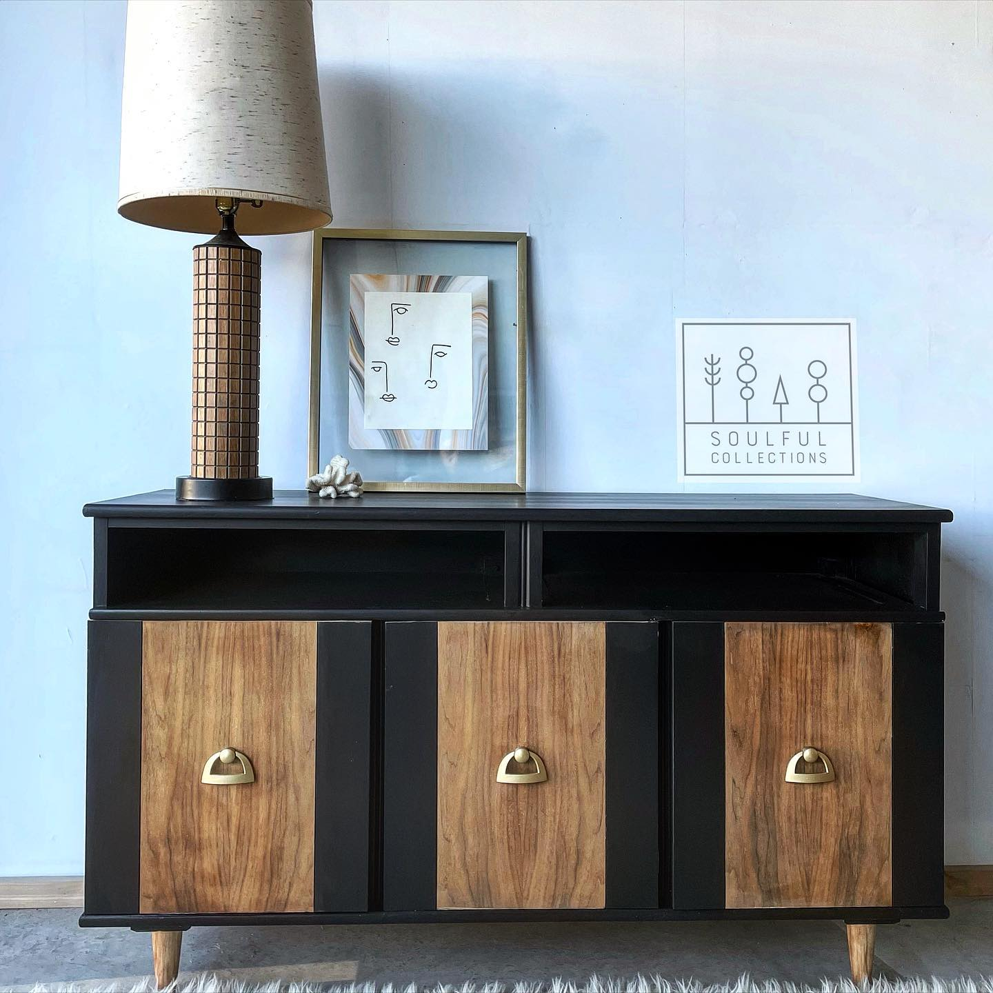 Mid-Century Modern Buffet/Dresser in Liquorice with Natural Wood Doors and Feet
