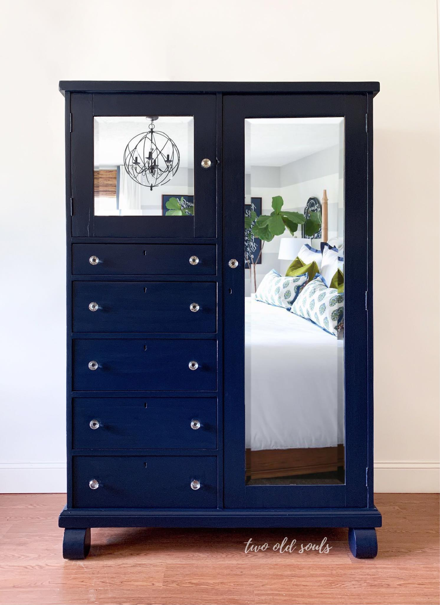Mirrored Armoire with Drawers in Peacoat
