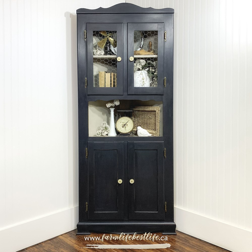 Corner Storage Cabinet with Glass Doors in Liquorice