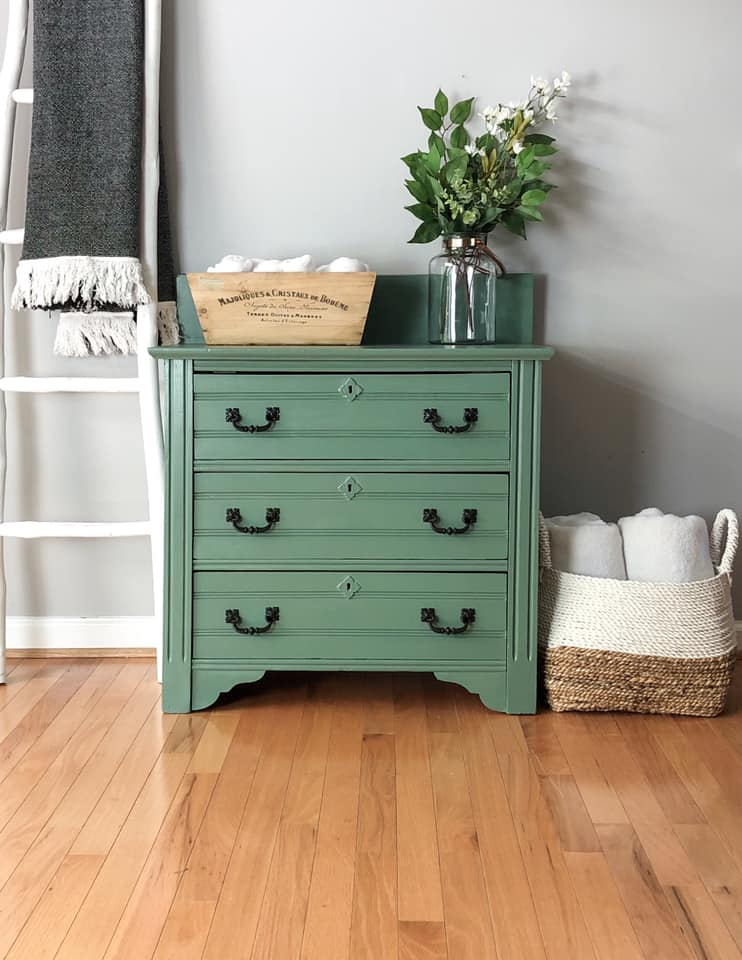 Petite Dresser/Cabinet in Hollow Hill with Black Glaze and Hardware