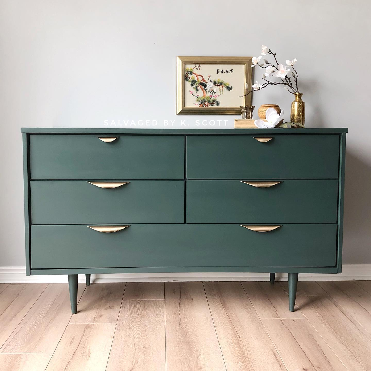 Mid-Century Modern Dresser in Hollow Hill with Gold Accents