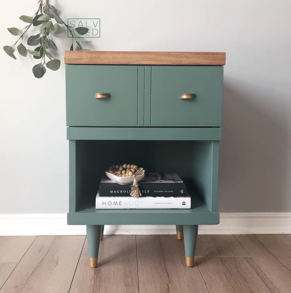 Side Table In Wanderess with Gold Feet and knobs
