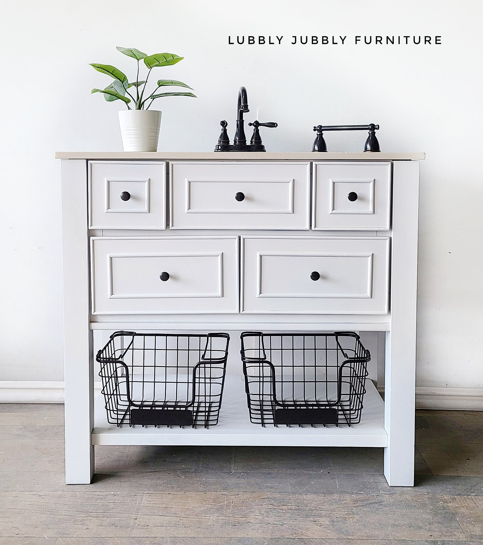 Bathroom Vanity in Simplicity with Wire Baskets and Black Hardware