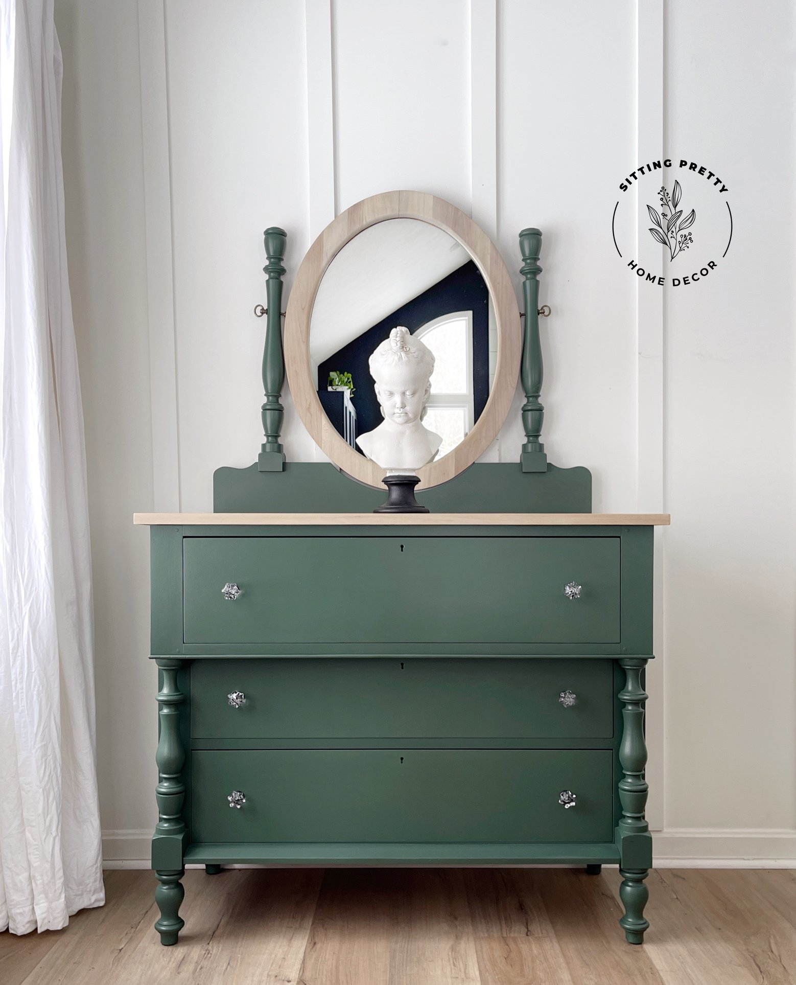 Dresser in Hollow Hill with natural wood top and mirror